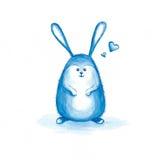 Coniglio grazioso dell'acquerello con i cuori Immagini Stock Libere da Diritti