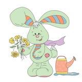 Coniglio lanuginoso sveglio con i fiori illustrazione vettoriale