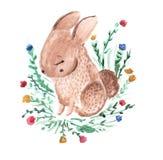 Coniglio minuscolo sveglio Coniglietto dolce, poca lepre con i fiori Illustrazione dell'acquerello per i bambini ed il modo dei b Immagini Stock
