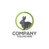 Coniglio nel logo di vettore dell'icona del foro del cerchio Immagine Stock