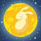 Coniglio nella luna Fotografia Stock