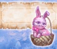 Coniglio rosa sveglio lanuginoso di pasqua illustrazione di stock