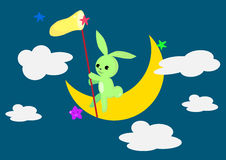 Coniglio sulla luna. illustrazione di stock