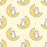 Coniglio sveglio che si siede sui precedenti senza cuciture del modello della luna illustrazione di stock