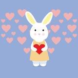 Coniglio sveglio con cuore Fotografie Stock Libere da Diritti