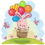 Coniglio sveglio con i palloni illustrazione vettoriale
