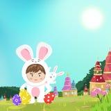 Coniglio sveglio con la mascotte d'uso del coniglietto del ragazzo in natura di fantasia, accogliente la carta del manifesto, fon illustrazione vettoriale