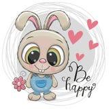 Coniglio sveglio del fumetto con il fiore Fotografie Stock Libere da Diritti