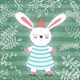 Coniglio sveglio di principessa nella foresta royalty illustrazione gratis