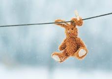 Coniglio triste del giocattolo che pende da una corda nella neve Fotografia Stock Libera da Diritti