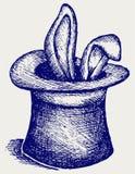 Coniglio in un cappello del mago Fotografie Stock