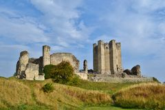 Conisbrough Castle. View from the bottom of the embankment Royalty Free Stock Image