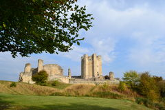 Conisbrough Castle. View from the bottom of the road under the trees Royalty Free Stock Image