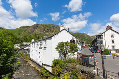 Coniston town Lake District England uk blue sky summer day stock photography