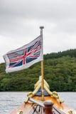 CONISTON-VATTEN, SJÖ DISTRICT/ENGLAND - AUGUSTI 21: Union Jack F Royaltyfria Bilder