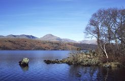 Coniston Water. Winter view of the Coniston Fells across Coniston Water, Cumbria, England royalty free stock photography