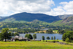 Coniston Water and mountains Lake District England uk Royalty Free Stock Images