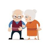 Coniugi anziani Illustrazione di vettore su fondo isolato bianco Personaggi dei cartoni animati Immagine Stock Libera da Diritti