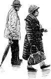 Coniugi anziani su una passeggiata Fotografia Stock Libera da Diritti