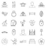 Conjugal icons set, outline style Royalty Free Stock Photography