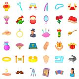 Conjugal life icons set, cartoon style Stock Photography