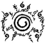 Conjugate Nine-tailed fox in Cartoon Naruto pattern. Style 8 bit Stock Images
