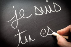 Conjugating verbs in French stock images
