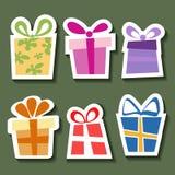 Conjunto abstracto de la etiqueta engomada del regalo stock de ilustración