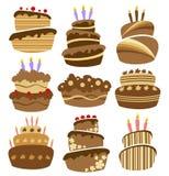 Conjunto abstracto de la torta de cumpleaños Foto de archivo