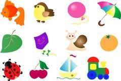 Conjunto abstracto del icono del juguete del vector Fotos de archivo