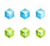 Conjunto abstracto del logotipo del asunto. dimensiones de una variable de los iconos del cubo Foto de archivo