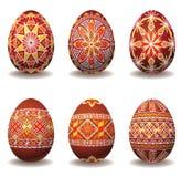 Conjunto agradable de los huevos de Pascua Foto de archivo