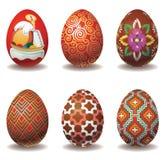 Conjunto agradable de los huevos de Pascua Imagenes de archivo