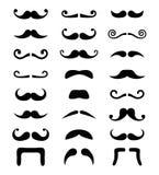 Conjunto aislado iconos del bigote ilustración del vector