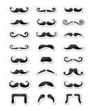 Conjunto aislado iconos del bigote/del bigote como escrituras de la etiqueta Fotos de archivo
