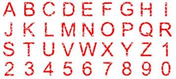 Conjunto alfanumérico rojo con las salpicaduras del grunge ilustración del vector