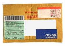 conjunto amarillo del franqueo (sobre), aislado Imagen de archivo libre de regalías