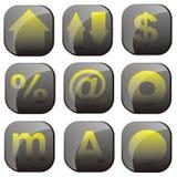 Conjunto amarillo negro del icono Imágenes de archivo libres de regalías