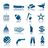Conjunto americano del icono de los símbolos Stock de ilustración