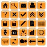 Conjunto anaranjado del icono Imagen de archivo libre de regalías