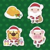 Conjunto animal de Papá Noel de la historieta linda de Navidad Foto de archivo libre de regalías
