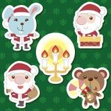 Conjunto animal de Papá Noel de la historieta linda de Navidad Imágenes de archivo libres de regalías