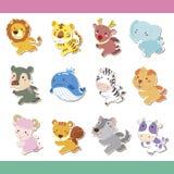 Conjunto animal del icono de la historieta linda Imagen de archivo libre de regalías