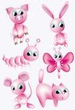 Conjunto: animales rosados. Fotos de archivo libres de regalías