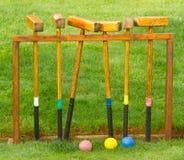 Conjunto antiguo del croquet Fotografía de archivo
