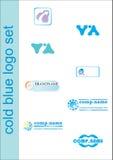 Conjunto azul de la insignia Imágenes de archivo libres de regalías