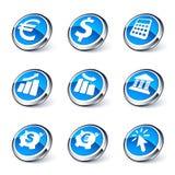 Conjunto azul de las actividades bancarias del icono ilustración del vector