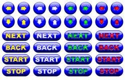 Conjunto azul del botón del Web Imagen de archivo libre de regalías