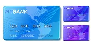Conjunto azul del icono del crédito y de la tarjeta de débito Imágenes de archivo libres de regalías
