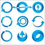 Conjunto azul del icono del elemento del diseño del círculo de la flecha Foto de archivo libre de regalías